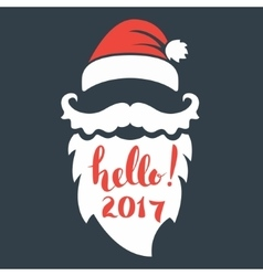 Santa beard with lettering Hello 2017 Happy New vector image