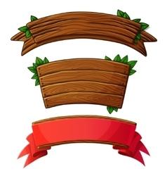 set dark wooden banners vector image