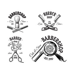 set of vintage barbershop emblems labels badges vector image