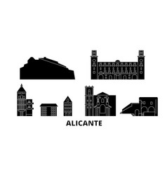 spain alicante flat travel skyline set spain vector image