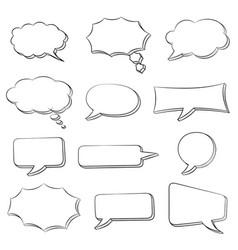 speech bubbles set doodle style hand drawn sketch vector image