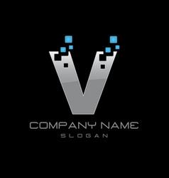 techno letter v vector image