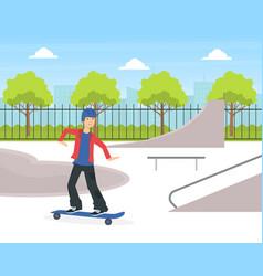 Teenage boy scateboarding guy doing physical vector