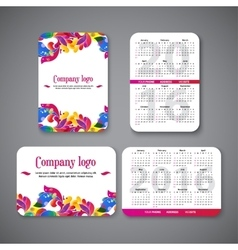 template design pocket calendar 2016 with patterns vector image