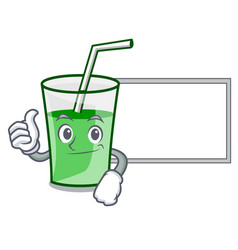 thumbs up with board green smoothie character vector image