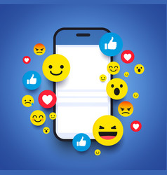various emoticons on a smartphone screen vector image