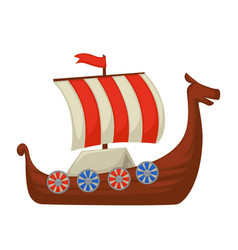 viking boat or ship with shield on board and vector image