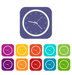 wall clock icons set flat vector image