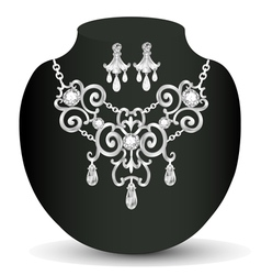 Wedding necklace and earrings with white precious vector
