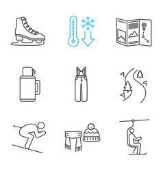 Winter activities linear icons set vector