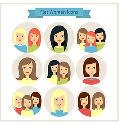 Women Characters Flat Circle Icons Set vector