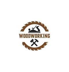 woodworking gear logo design template element vector image