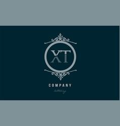 xt x t blue decorative monogram alphabet letter vector image vector image