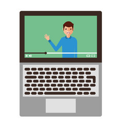 young man waving happy in laptop avatar character vector image