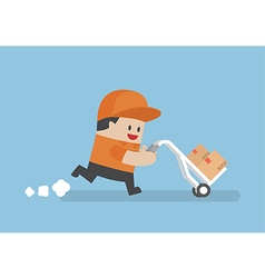 Delivery man delivering cardboard boxes by cart vector image