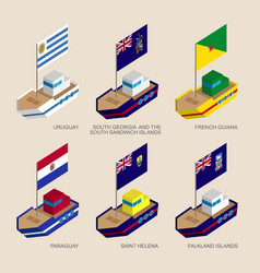 isometric ships with flags of south america vector image