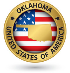 Oklahoma state gold label with state map vector image vector image