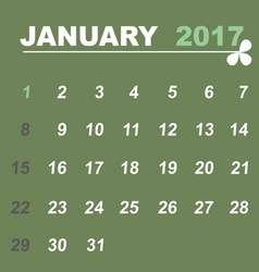 Simple calendar template of january 2017 vector image vector image
