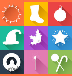 bright christmas icons vector image