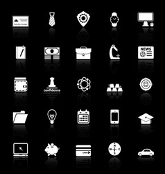 Businessman item icons with reflect on black vector image vector image