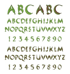 Green alphabet from leaves vector image