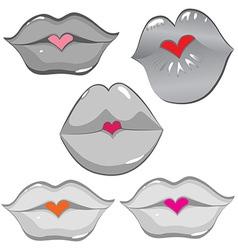 lip hearts vector image vector image