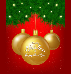 Merry christmas greeting card of golden vector