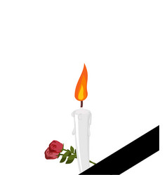 Mourning frame black ribbon candles and flowers vector