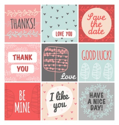 Thank you love you good luck vintage set vector image vector image