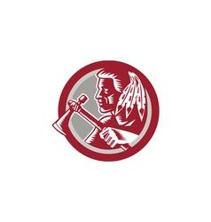 Native American Tomahawk Warrior Circle vector image