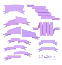 Set of 12 ribbons vector image