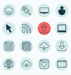 set of 16 web icons includes save data wifi vector image