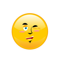 winks emoji isolated happy yellow circle emotion vector image