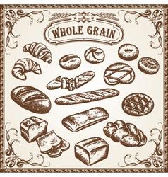 bakery set whole grain vector image vector image