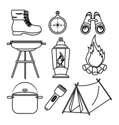 camping outdoor adventure icon set vector image