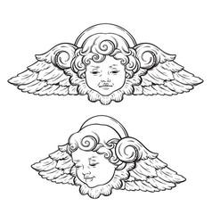 cherub cute curly smiling baby boy angel set vector image