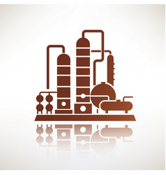 Petrochemical plant symbol refinery oil vector