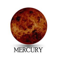 Planet Mercury white background vector image