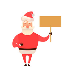 santa claus laughing holding an empty board sign vector image