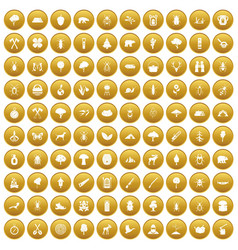 100 forest icons set gold vector image