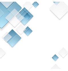 Abstract geometric tech blue squares design vector image