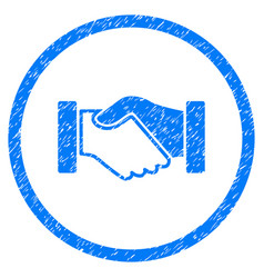 acquisition handshake rounded grainy icon vector image