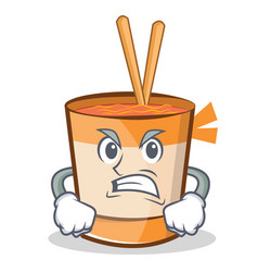 Angry cup noodles character cartoon vector