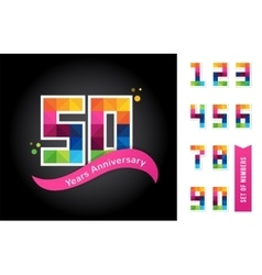 Anniversary - abstract colorful icons and elements vector