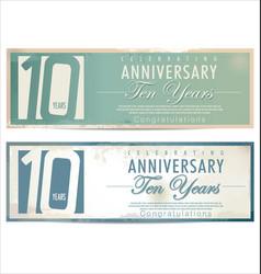anniversary retro background 10 years vector image
