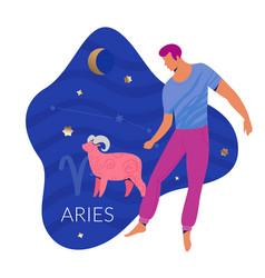 Aries man zodiac vector
