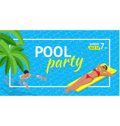 banner or flyer for summer beach party aloha vector image