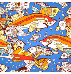 Blue doodle children fish shark pattern vector