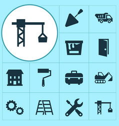 Building icons set collection of spatula lifting vector