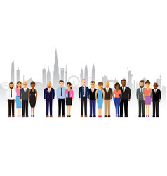 Business people on a cityscape background vector